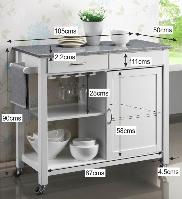 Hardwood White Painted Kitchen Trolleys Half Price Sale